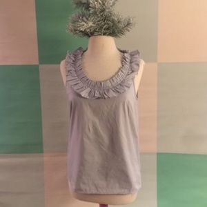 J CREW Grey Ruffled neckline shirt size 4 Small
